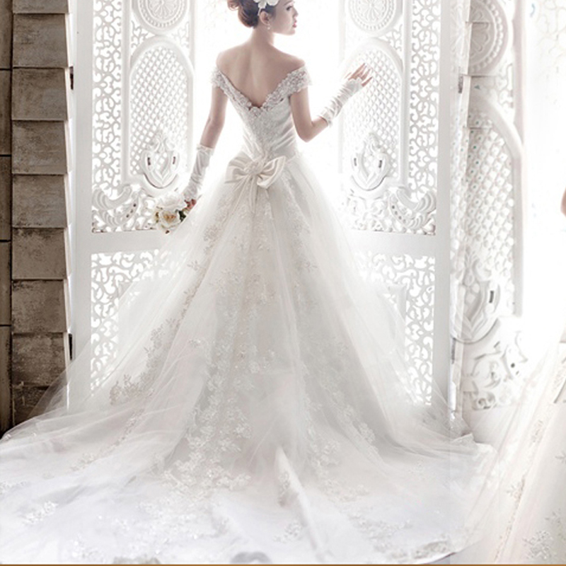 韩式公主新娘蕾丝  一字肩拖尾 韩版深V领齐地婚纱礼服