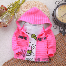 Baby girls in the spring and autumn outfit pink blazer 7-8-9 months knitting coat thin stripes 0-1-2-3 years old