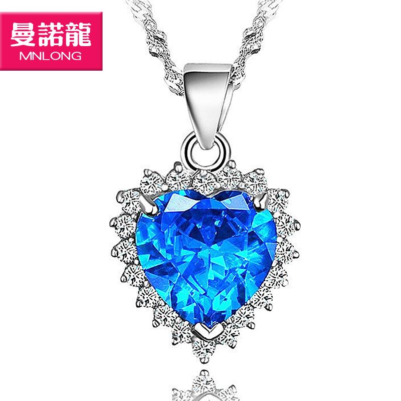 海洋之心项链时尚项链 925纯银饰品 韩国女首饰蓝晶吊坠 复古项坠时尚项链