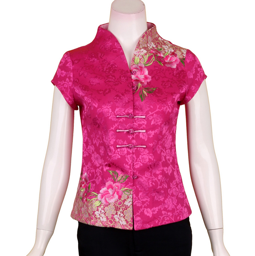 Clothing ladies summer dress clothes for middle-aged and elderly women middle-aged MOM with ethnic Chinese improvement for the wind t-shirt short sleeve shirt MI