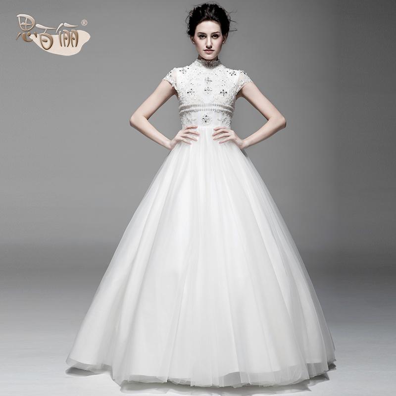 2013夏季最新款结婚季 齐地蓬蓬裙 小圆领 拉链款婚纱礼服