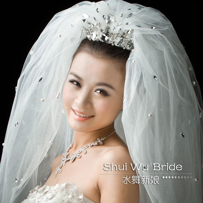 水舞新娘 大颗水钻带珍珠新款头纱 高档豪华多层头纱婚纱礼服配件