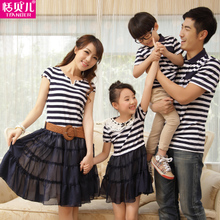 Tim Belle Family fitted summer home improvement 2013 striped chiffon dress mother and child, mother of women installed