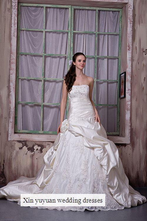 外贸实图抹胸手工时尚婚纱做花新娘婚纱礼服蕾丝钻饰A字裙小教堂拖尾婚纱