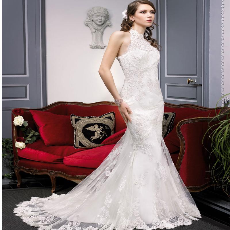 新款收腰复古鱼尾显瘦新娘婚纱玉园蕾丝婚纱礼服厂家直销专业订做