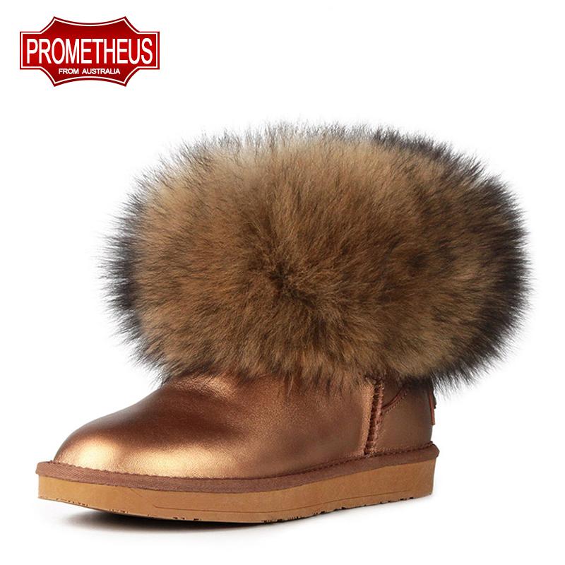 普罗米修斯 超大仿狐狸毛皮草女鞋防水牛皮短靴雪地靴 女棉靴子冬