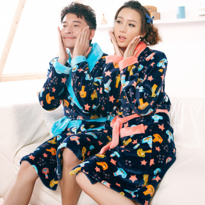 New winter lovers thick flannel nightgown bubble coral velvet winter men and women couples cartoon bathrobe