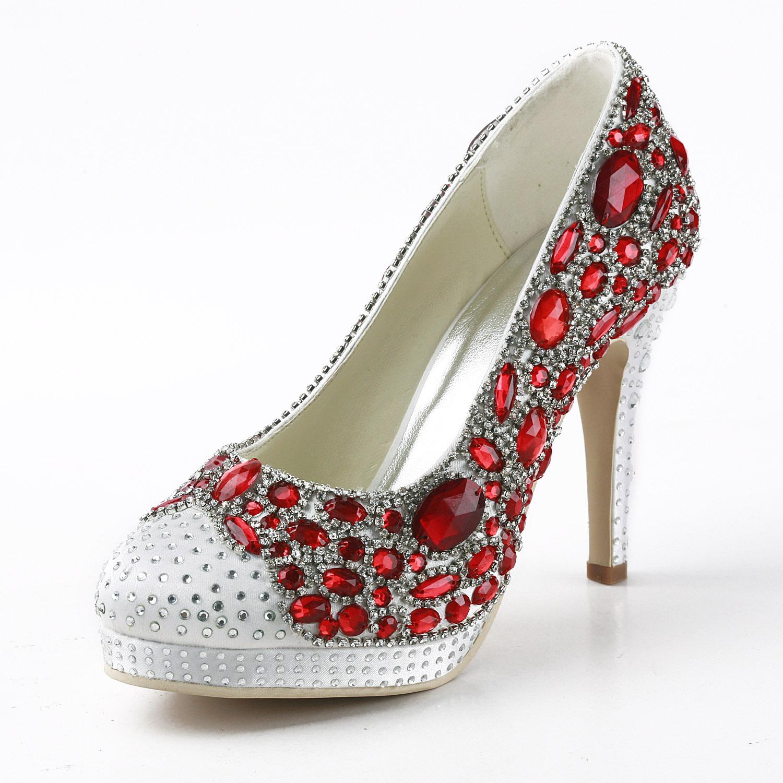 手工定做奢华水晶婚鞋 高跟红色亮钻新娘鞋结婚鞋子女单鞋33-42码