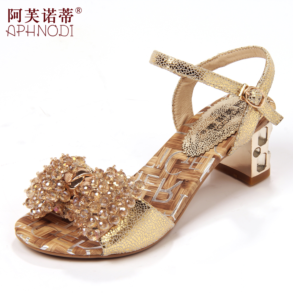 Ah Fu Novo pedicle Jurchen new 2013 ladies Sandals leather shoes with thick beaded rhinestone sandals