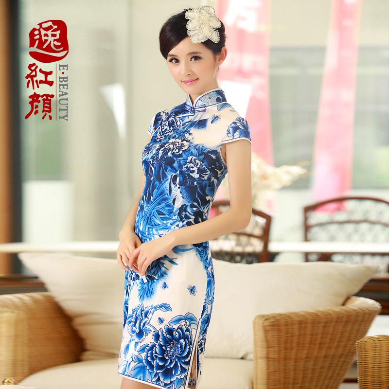【逸红颜】夏香 2013夏装新款改良复古真丝旗袍 时尚短款旗袍裙