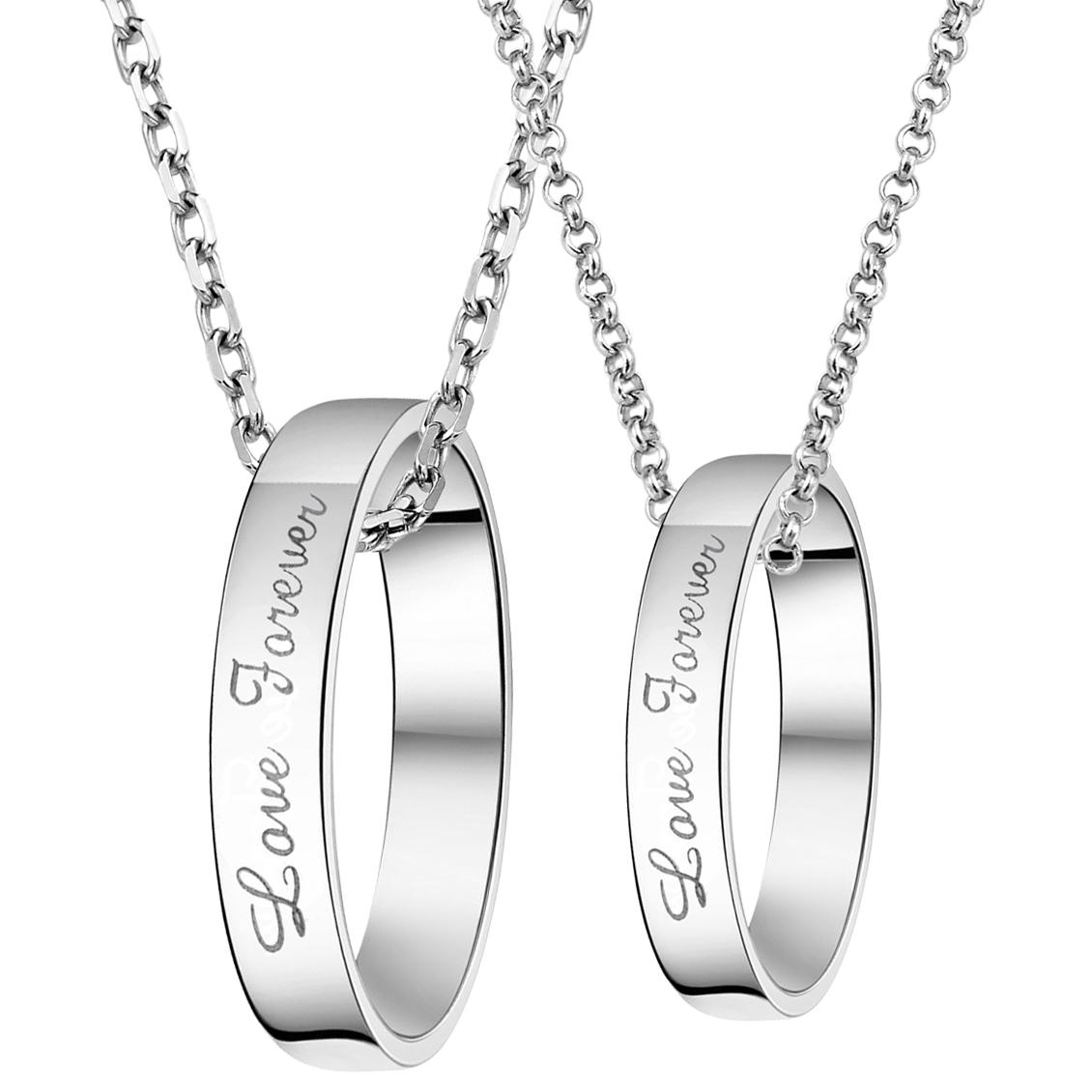 情人节礼物 永远爱你 韩版男士女式情侣项链 一对包邮刻字 首饰品