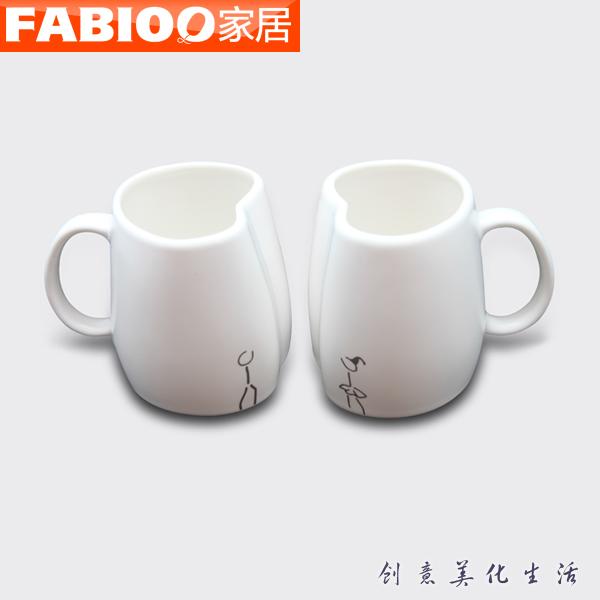 法比奥现代生活居家杯多功能茶杯创意饰品爱情杯陶瓷白色情侣对杯