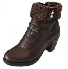 特价大促7511红蜻蜓新冬款牛皮舒适暖和软底一体跟女短靴靴子百搭图片