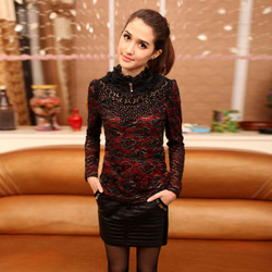 Korean style hollow lace high-necked long sleeve slim big size thick