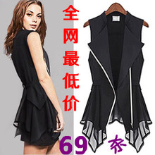 Spring coat Korean female European and American fashion summer chiffon vest waistcoat vest zipper Slim large size women