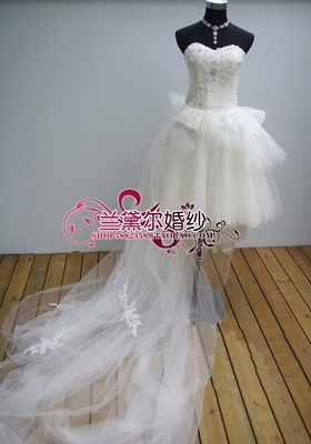 2014 Summer Tee Short wedding removable dual front trailing wedding dress short paragraph long and short wedding