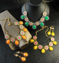 J.crew crystal facet drill water droplets gem flower necklaces earrings suit