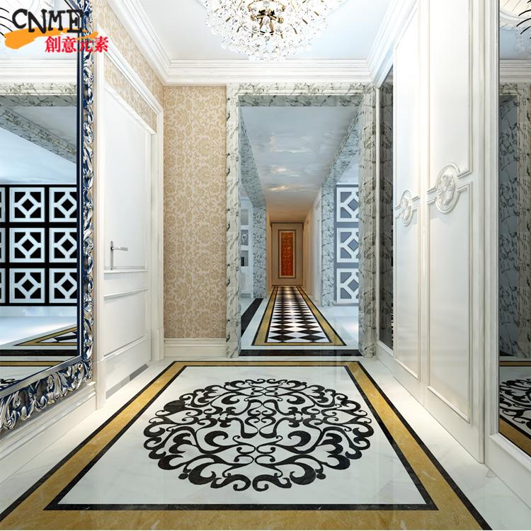 创意元素 水刀拼花室内地砖拼图瓷砖拼花定制 走廊过道 中式玄关图片