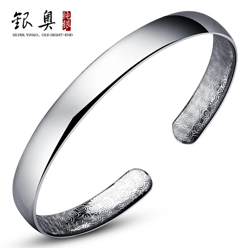 银奥  纯银手镯 999千足银手镯 纯爱光面手镯 女 银饰品 礼物