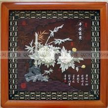 Classical Chinese jade jade carvings paint stereo adornment jade jade wall hanging calligraphy and painting screen peace prosperous 90 * 90