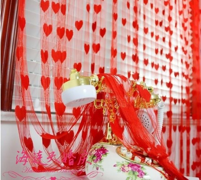 Свадебный реквизит Свадьба поставок/свадьба/шторы/красный свадебное украшение/шторы/Хань Шитао сердца форма любовь линия шторы