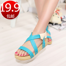 2013 summer new solid color set foot sweet girl students thick crust Rome with slope with sandals women shoes