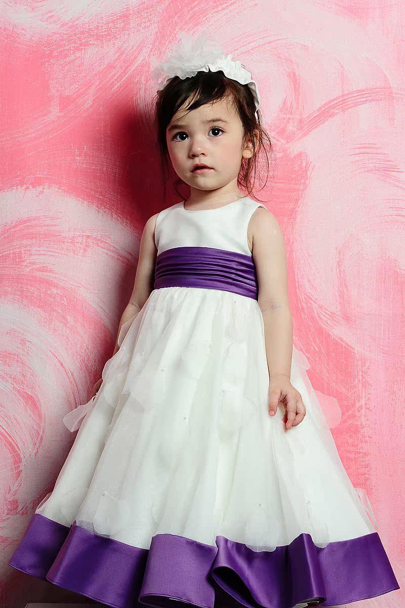 长款宝宝周岁礼服裙儿童婚纱礼服公主裙花童裙女童演出服表演服