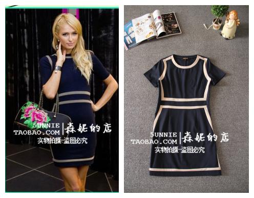 Женское платье Отель Hilton Paris Hilton Paric t с шить на талии платье тонкий короткий рукав