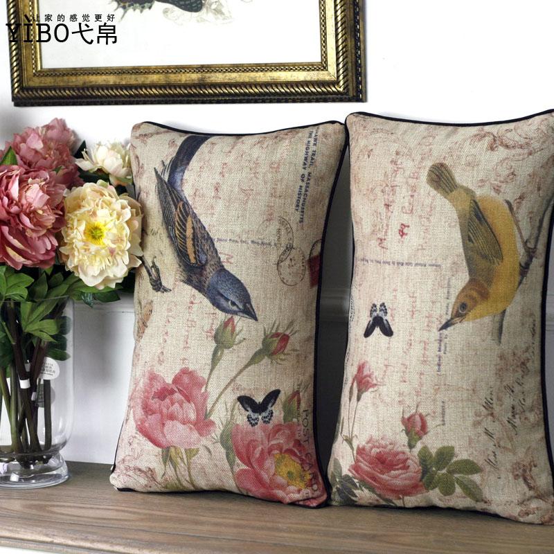 美式乡村田园风格花鸟图案抱枕图片