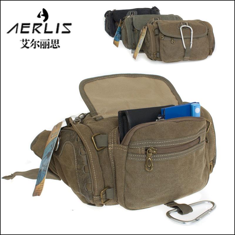 aerlis 正品 加强版男包大容量纯棉帆布包腰包韩版休闲户外男包图片