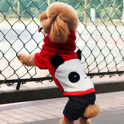 Panda dog clothes turned legs fitted dress shirt coral balaclavas pet dog clothes fall and winter clothes free shipping