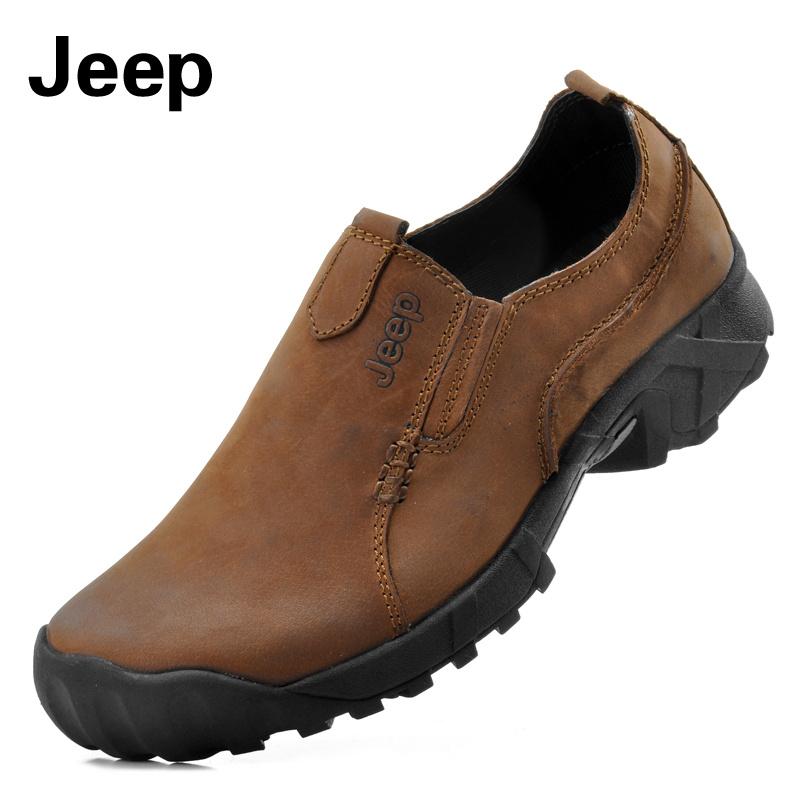 Демисезонные ботинки JEEP 8216 Для отдыха Верхний слой из натуральной кожи Квадратный носок Без шнуровки Весна и осень