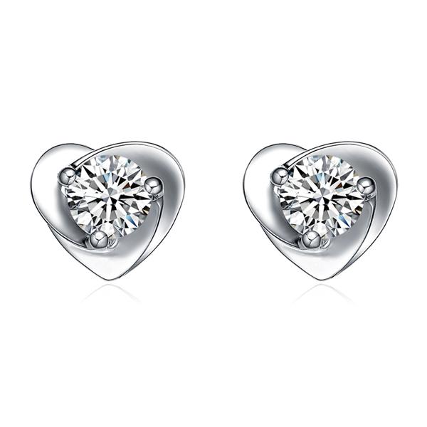 20分天然钻石裸钻18K白金镶嵌结婚耳钉耳坠心形耳钉项坠吊坠