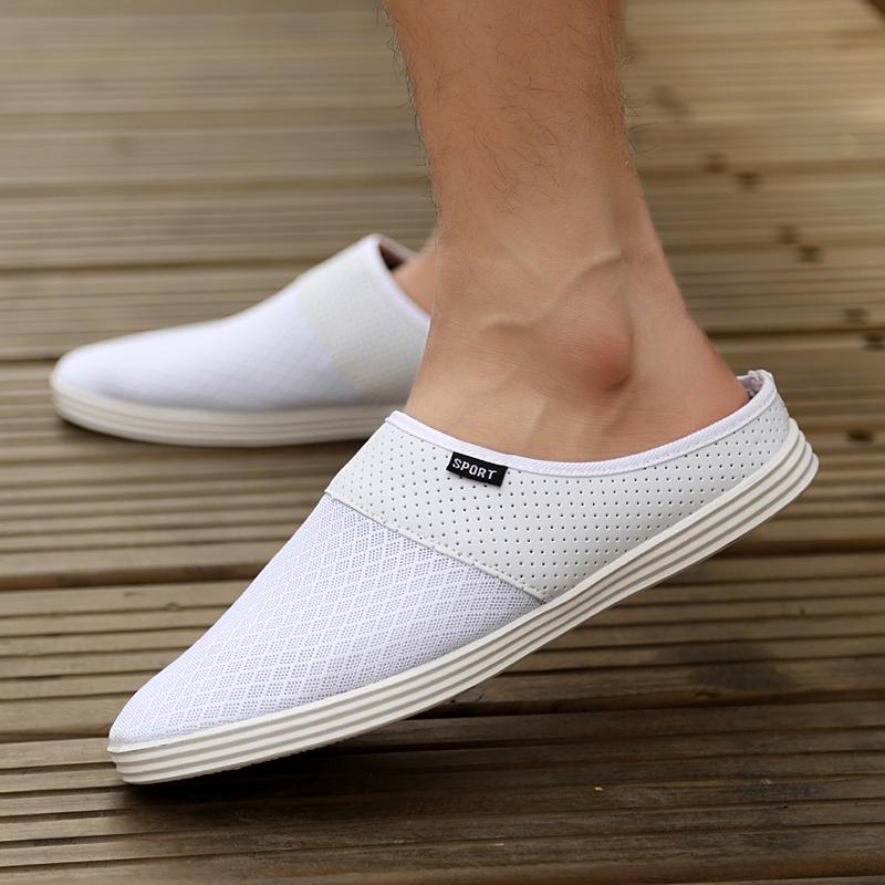 Сланцы Летние тапочки мужчин мужские Тапочки, пляжная обувь, Баотоу приливные Туфли повседневные сандалии воздуха половинчатая птица гнездо тапочки белого