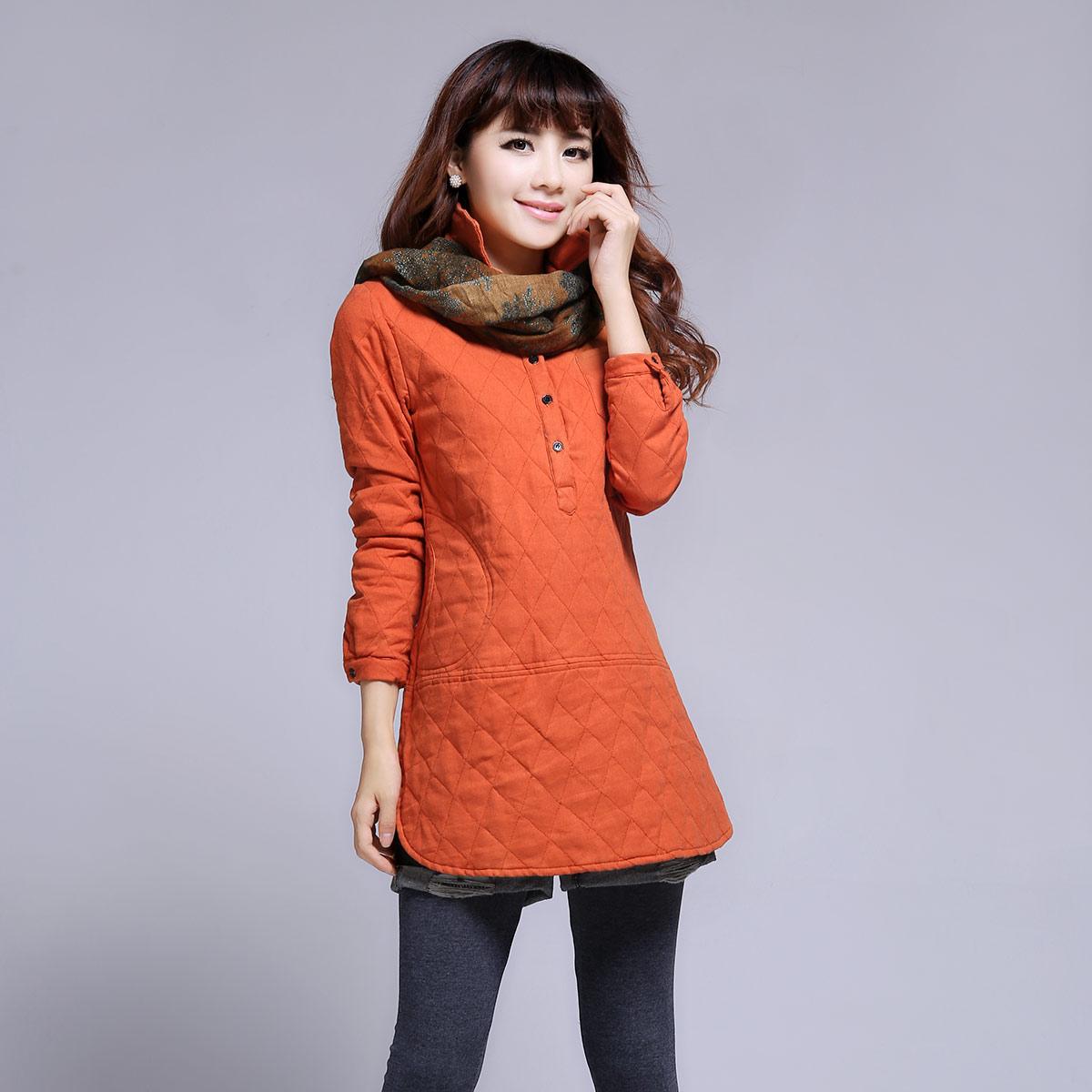 Женская утепленная куртка 2013 Зимняя новые длинные женские рубашки в корейской версии рубашка хлопок тонкий вскользь цветом рубашка Облегающий покрой Длинный рукав Зима 2013