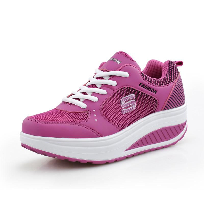 Круглый носок Плоская подошва Шнурок Средний каблук (3 -5 см) Клееная обувь Шнуровка, Сетка, Глубокий вырез, Платформа Однотонный цвет