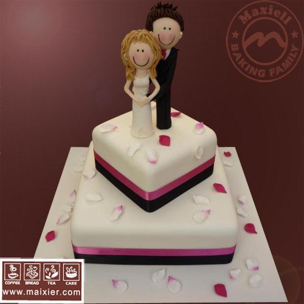 翻糖蛋糕 婚礼蛋糕 Fondant wedding cake 婚礼小人 北京蛋糕