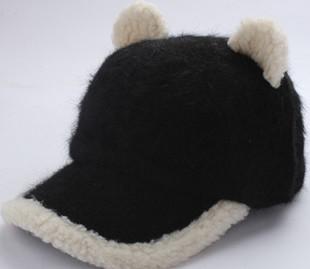 Головной убор Кот уха Hat Корейский модельные прилив Cap милый кролик в зимних бейсбол крышка Южная Корея в осенние теплую шапку