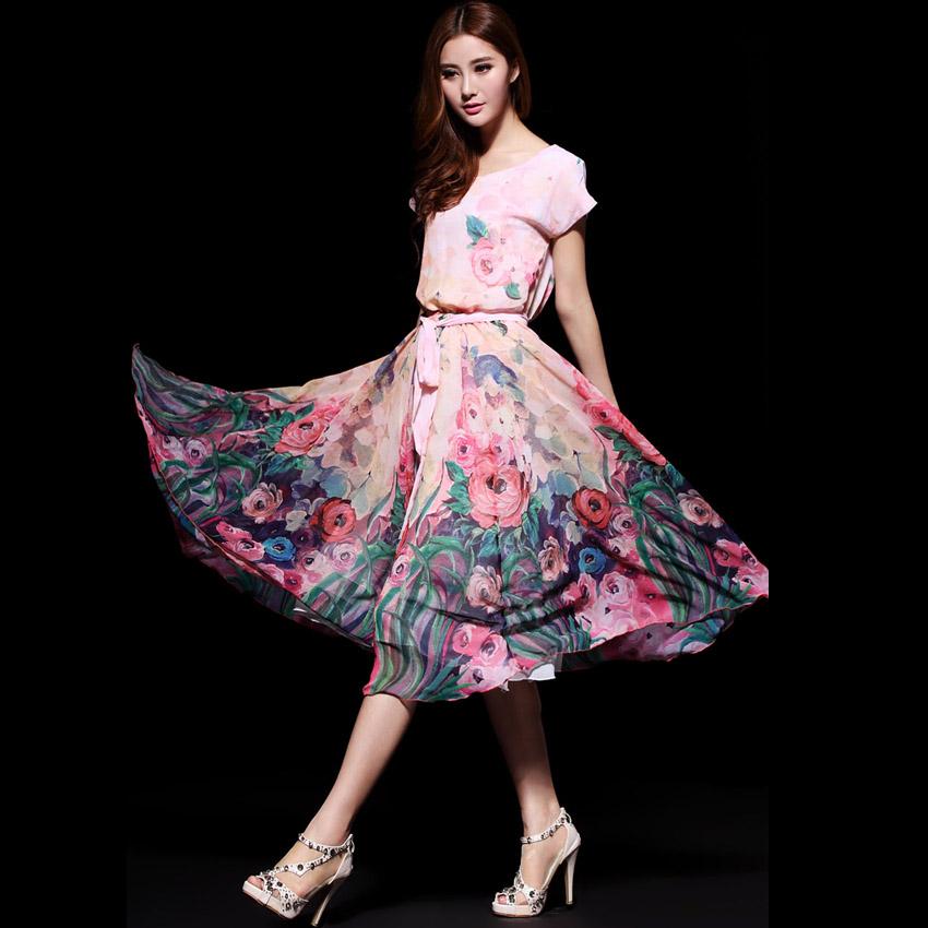 连衣裙花色款春