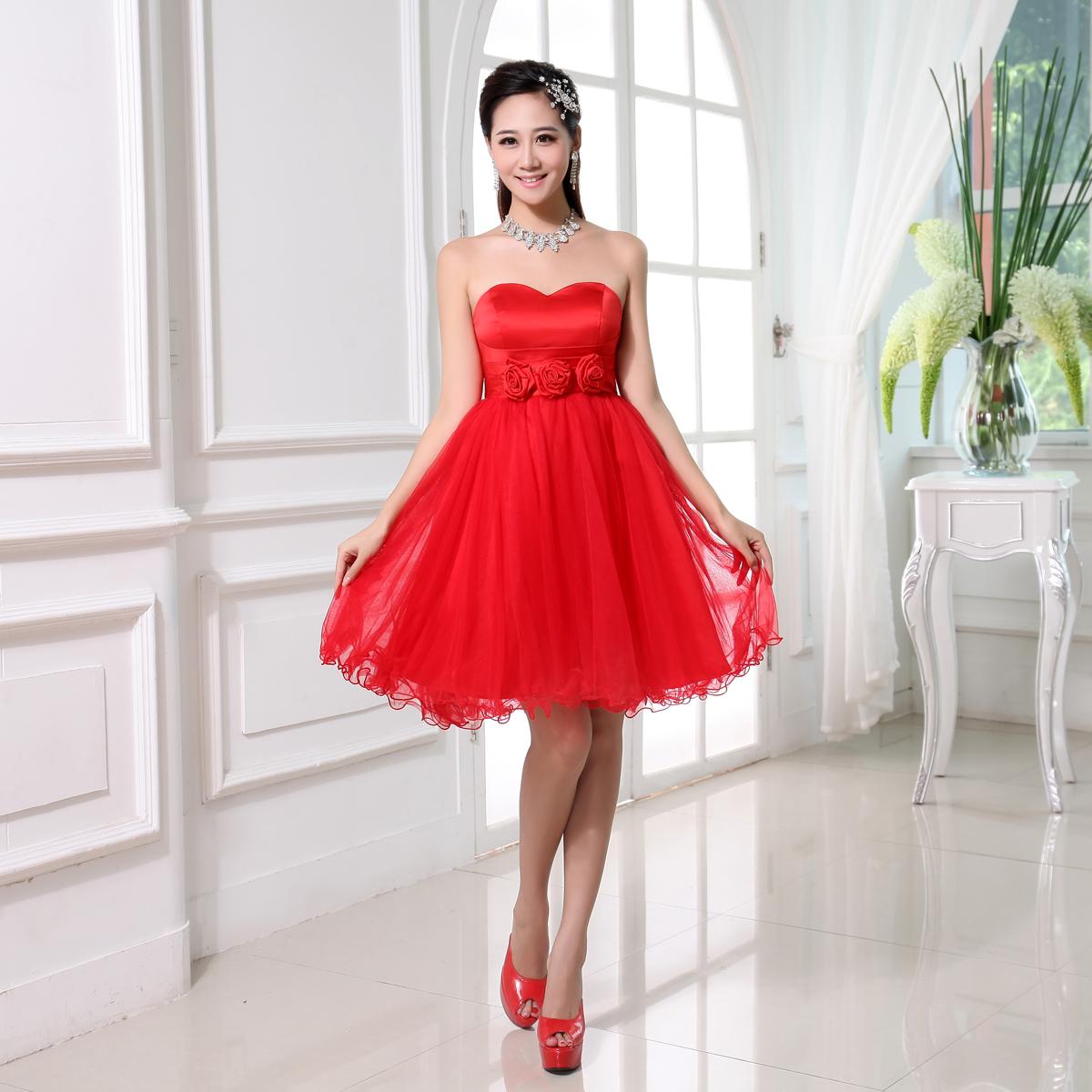 2013新款伴娘服秋冬短款红色伴娘团姐妹裙新娘短款小礼服敬酒服