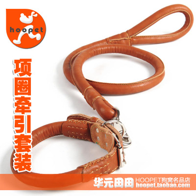 Large double-breasted leather dog leashes traction suit large dog pet golden rope leash dog collar b