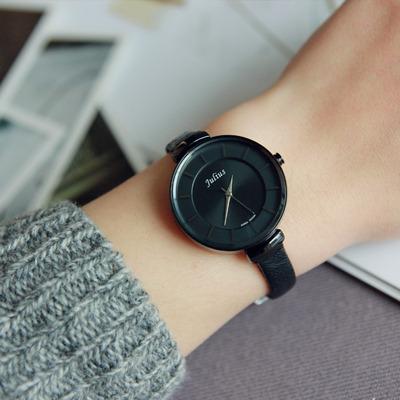 [正品保证] 韩国聚利时简约手表女潮学生皮带黑色圆形时尚休闲气质石英表包邮