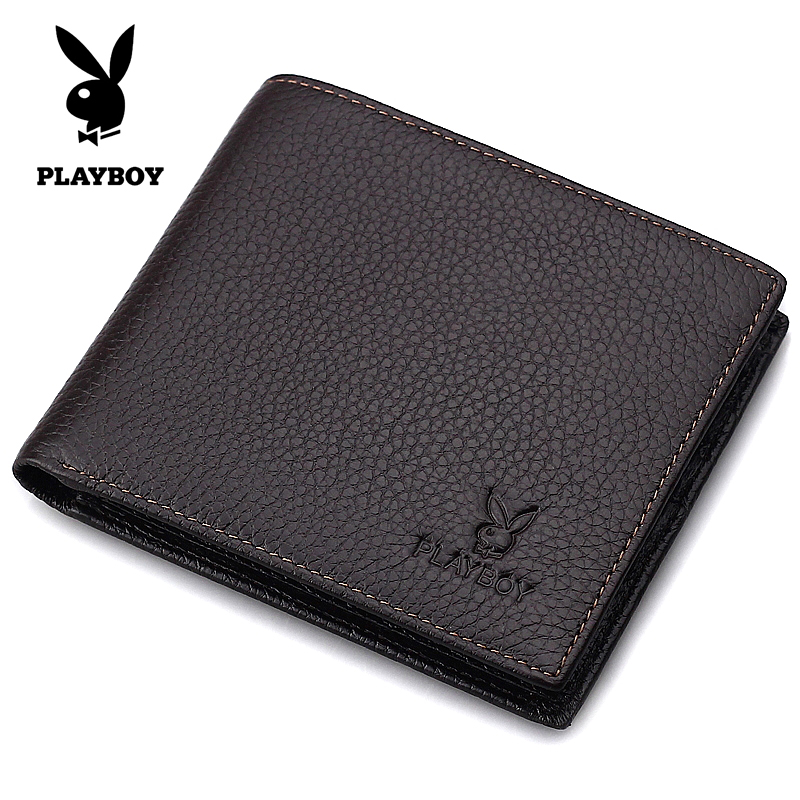 Playboy purse short wave of authentic Korean leather wallets for men casual leather wallet