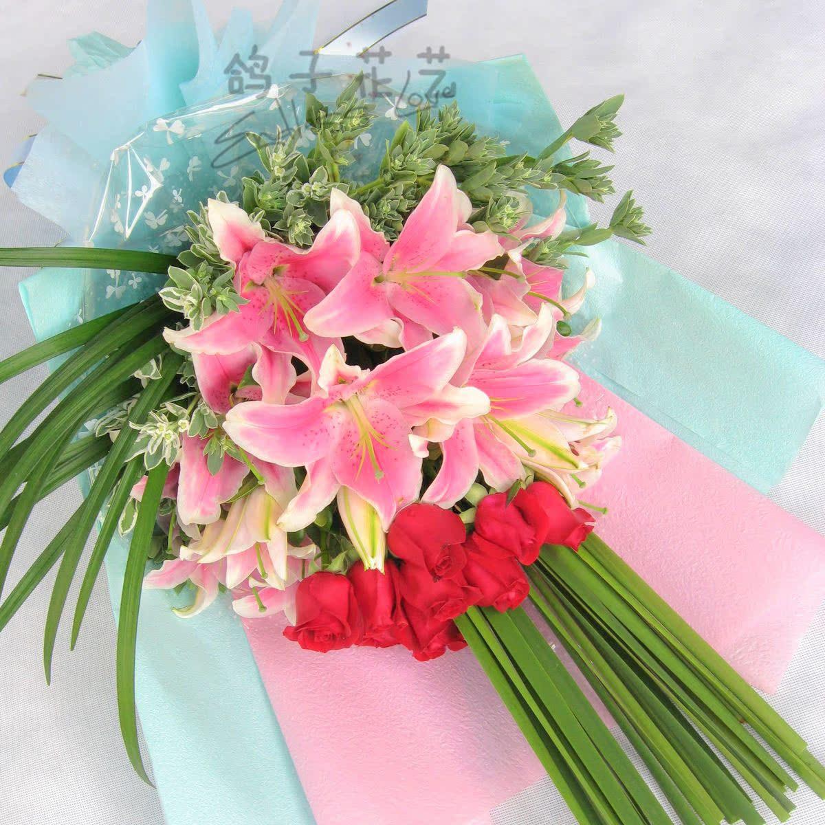 0040-8朵红玫瑰10支粉状态生日祝福议百合道歉用花摩羯座分手后商务图片