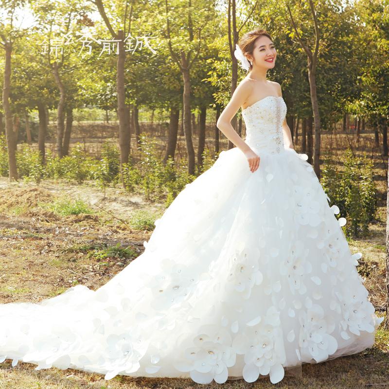 锦绣前铖婚纱礼服新款2013新娘韩版抹胸绑带婚纱大码公主拖尾婚纱