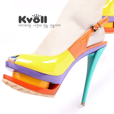 Korean kvoll genuine new waterproof fish head high with pearl patent leather sandals spell color sweet beauty