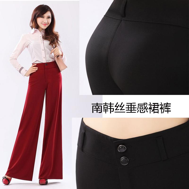 Классические брюки Shengermei 656 Расклешённые Корейский Длинные брюки Высокая талия Ткань с металлизированной нитью Зима 2013 Молния