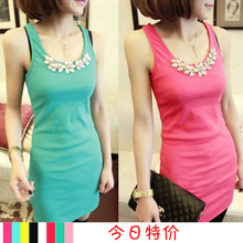Lorrie poem 2013 spring new Korean Women Slim thin package hip long cotton bottoming vest / dress