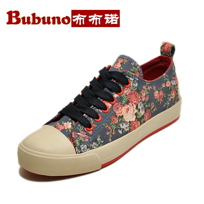 Bubuno Bubu Nuo 2014 spring new retro Floral canvas shoes to help low flat tendon at the end female Korean tide