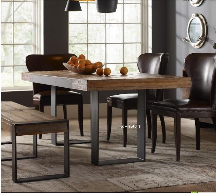 Стол обеденный Американский Ретро кованого железа обеденный стол мебель твердой древесины дерева стол скамейке северных стиле обеденные стулья